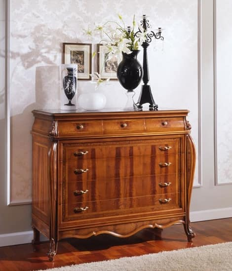 OLIMPIA B / Chest of Drawers, Dresser with drawers in antique-style, carved by hand