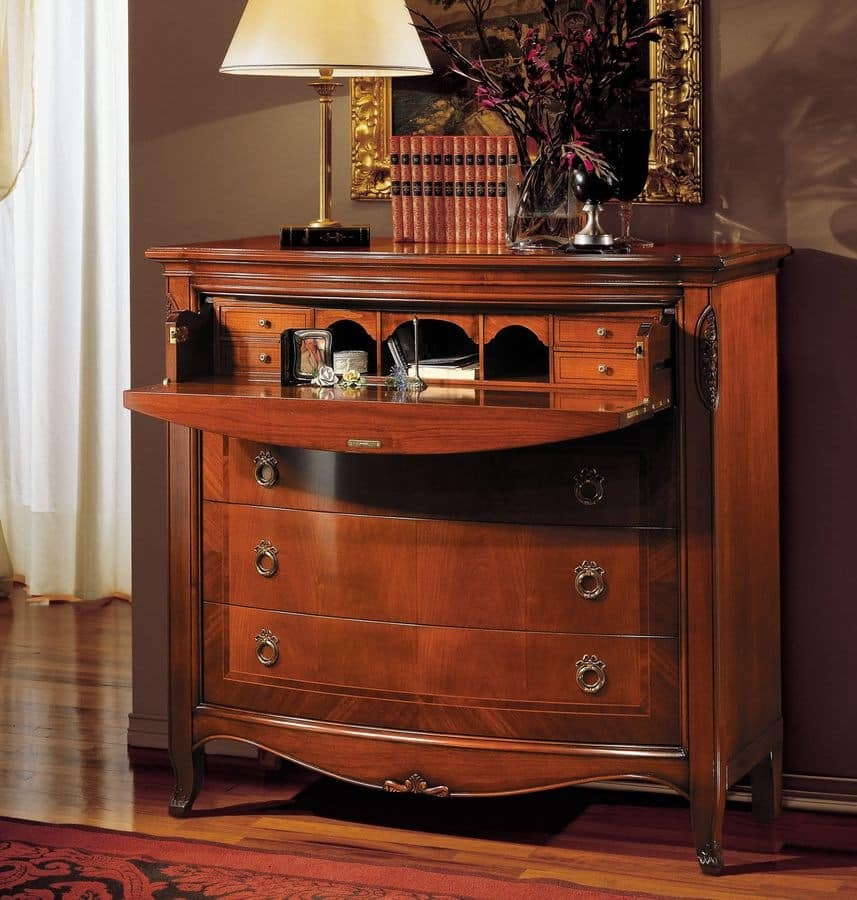 Praga chest of drawers, Walnut chest of drawers suited for bedrooms, classic chest of drawers for bedrooms