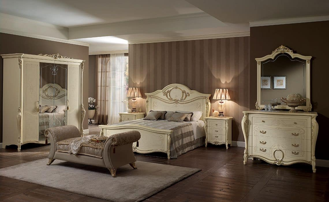Tiziano dresser, Classic dresser, four drawers, for bedrooms and luxury hotels