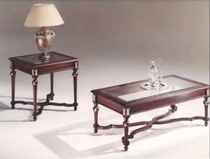 3045 COFFEE TABLES, Rectangular tables with glass top, classic style