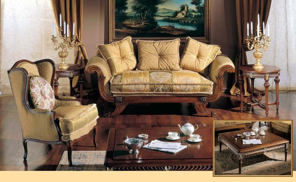 3285 SMALL TABLE, Hand-carved coffee table for luxury classic living rooms