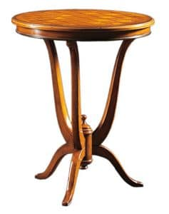 Adriano FA.0113, Dec� table with round top in inlaid wood