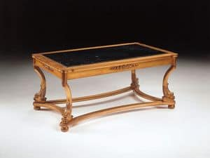 Art. 223 Nettuno, Luxury coffee table, hand carved, for hotels