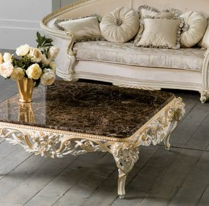 Art. 4087, Coffee table with floral carvings