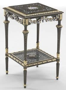 Art. L-1090 K, Square coffee table with shelf, gold leaf decorations, ideal for environments in classic style