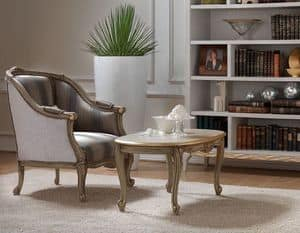 Belle Epoque 484 coffee table, Coffee table in wood, classic style, carved by master craftsmen