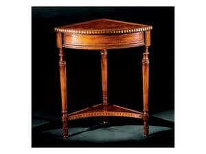 Complements side table 755, Corner side table in carved wood