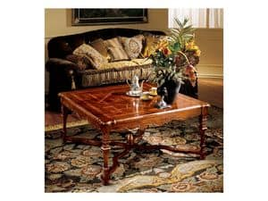 Elena coffee table 769, Luxury coffee table with inlayed top