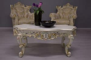 Finlandia Venetian Lacquered, Coffee table with carved wooden structure