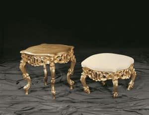 Finlandia gold, Baroque coffee table with wooden beech wood structure