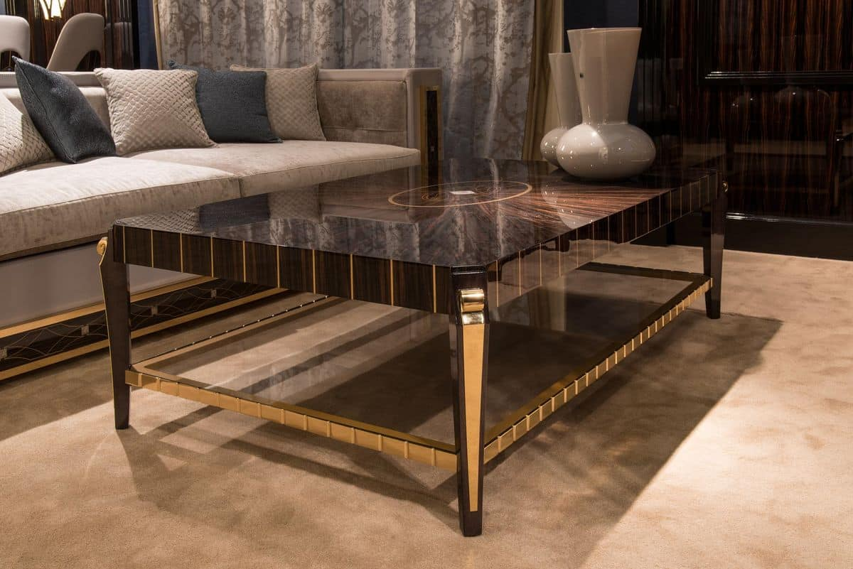 Rectangular Coffee Table Veneer For Classics Luxury