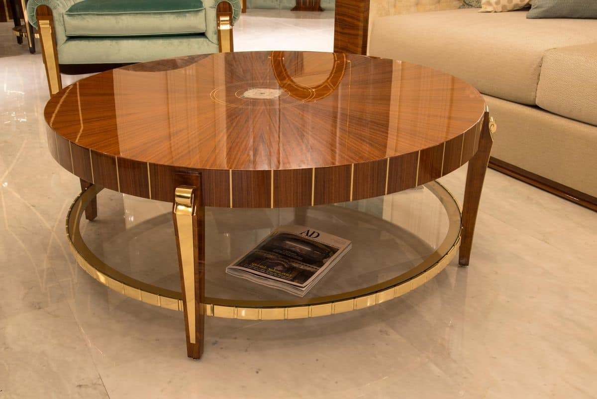 Round Table Veneered For Environments In Classic Style Idfdesign
