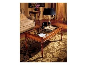 Katerina coffee table 716, Wooden coffee table with glass top, classic style