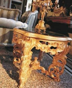 Opera small table, Little table for the center hall, carved, classic luxury style