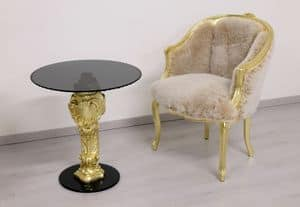 Oscar gold & black, Coffee table with carved beech wood base and round glass top