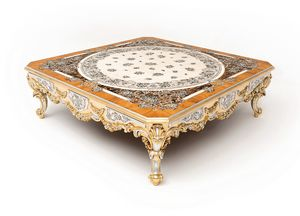 Scent of flowers coffee table, Prestigious artisanally decorated coffee table