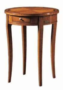 Tiziano FA.0139, Small round table with a drawer, handmade