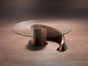 TL41 Minerva, Coffee table in plywood, glass top