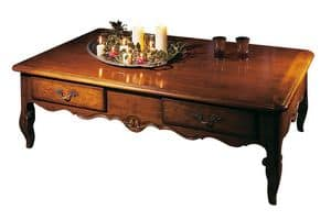 Toulon VS.5021, Rectangular coffee table in walnut, '700 Provencal style