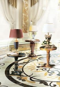 Vulcano, Side table with round top, classic style