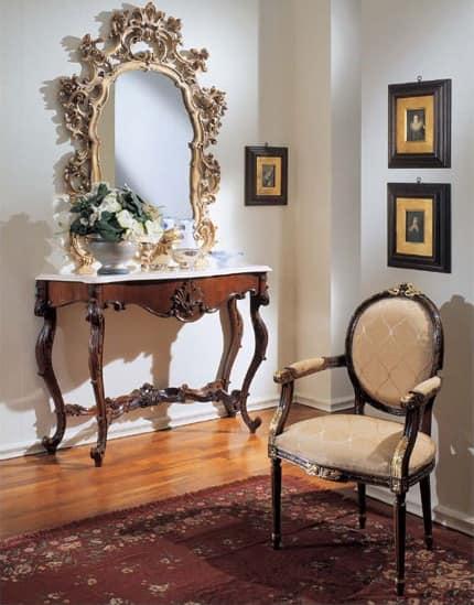 3200 CONSOLE, Luxury classic console, Botticino marble top