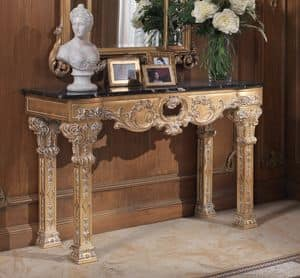Hand carved console in baroque style for entrance idfdesign - Mobili ingresso classici ...