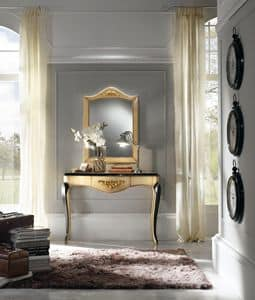 Art. 094 CONSOLE WITH MIRROR, Console in solid wood, with gold leaf embellishments