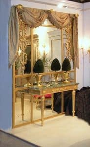 BOISERIE WITH CONSOLLE ART. BS 0002 + CL 0009, Boiserie pane with console, in gilded wood and mirrors