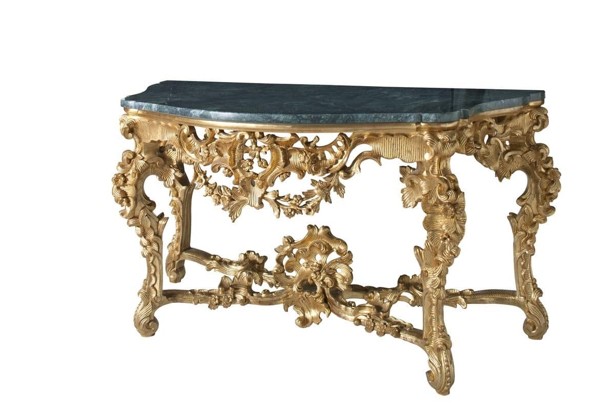 console carved in baroque style for luxury hotels idfdesign. Black Bedroom Furniture Sets. Home Design Ideas