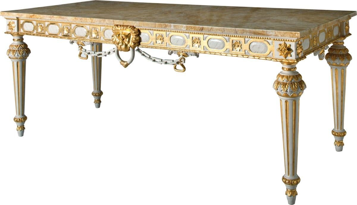 Gilded console in Louis XVI style for hotels, marble top | IDFdesign