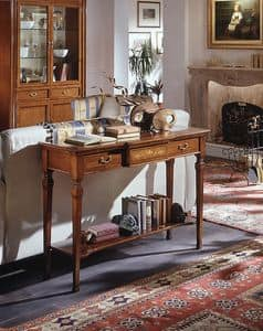 D 406, Classic cherry wood console, with carvings and inlays