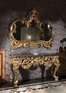 F105, Consolle table with marble top and mirror gold