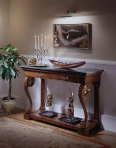 M 401, Classic walnut console, with green marble top