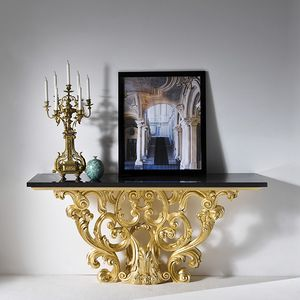 Palazzo PL218, Carved console with black marble top