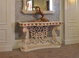 Rocco consolle, Hand-carved console, lacquered finish