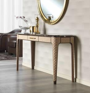 Vanity console, Console in oak and leather, top in marble empherador