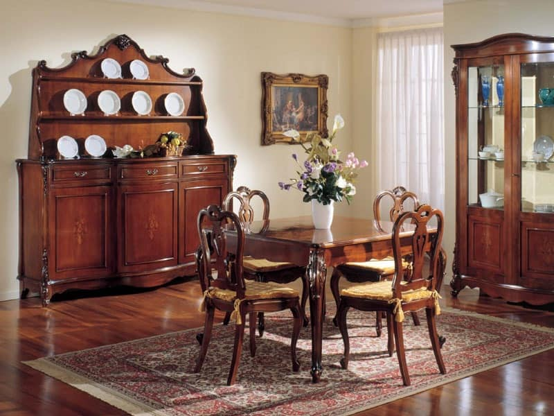3145 CUPBOARD, Classic walnut sideboard with 3 doors and plate rack
