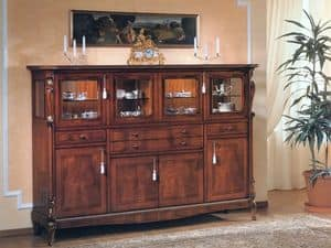 Picture of 96 NOCE / Sideboard with 4 doors with raised glass, wooden sideboards