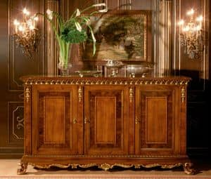 Art. 1058, Sideboard with 3 doors, gold finishings, classic style