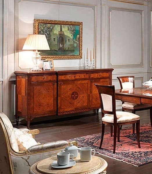 Art. 910 sideboard, Classic style sideboard, in walnut wood, for dining room