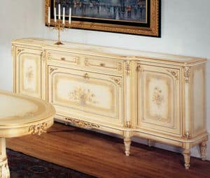 Art. L-789 bis, Sideboard with 2 doors, 2 drawers and 1 flap, floral decorations, gilded frames, for classic luxury style