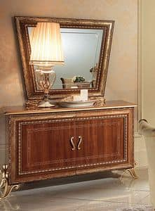 Giotto buffet, Sideboard with feet, handles and frame with gold leaf