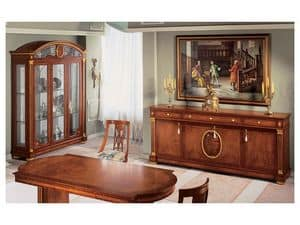 IMPERO / Sideboard with 4 doors, Classic style sideboard, made of wood with gold finishings