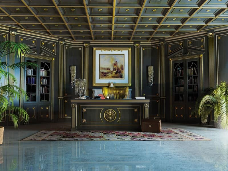 Luxury Boiserie With Coffered Ceiling Idfdesign