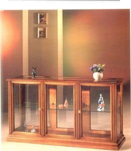 2060 SHOWCASE, Horizontal display cabinet made of wood and glass, classic style