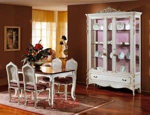 3310 SHOWCASE, Showcase made of white lacquered wood, luxury classic style