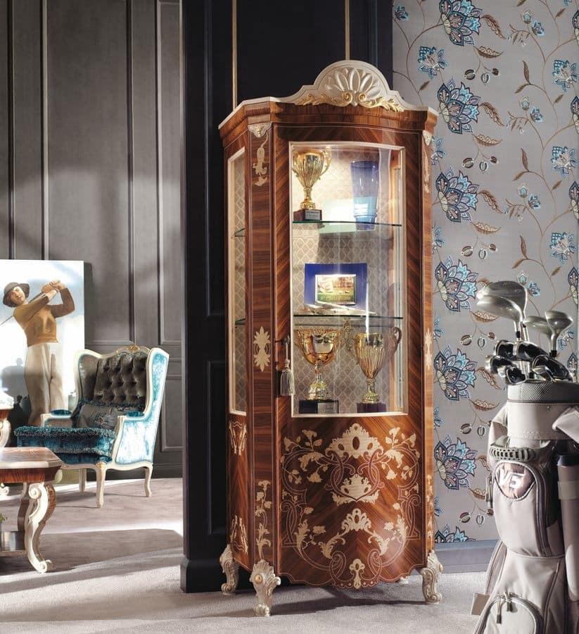Classic Luxury Showcase With 1 Door In Veneered Wood