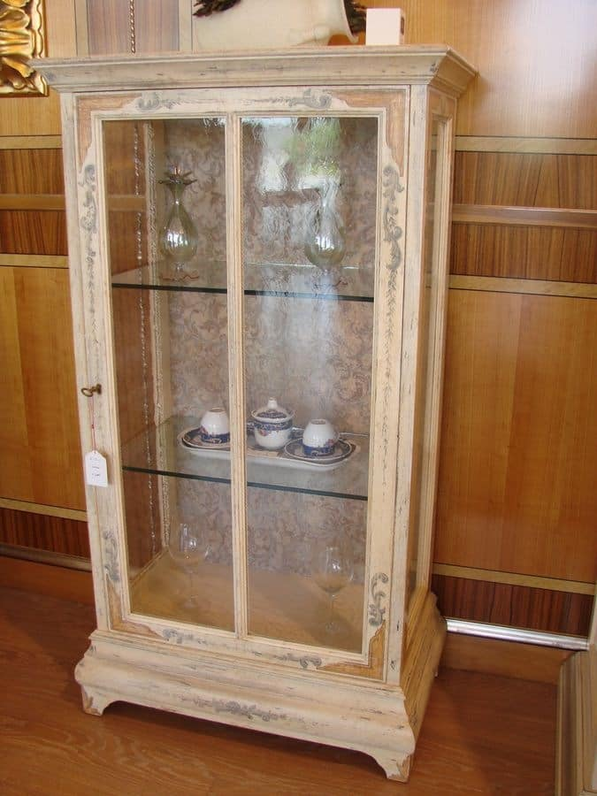 Glass Showcase Designs For Living Room: Display Cabinet With 1 Door, Copper Windows, For Living