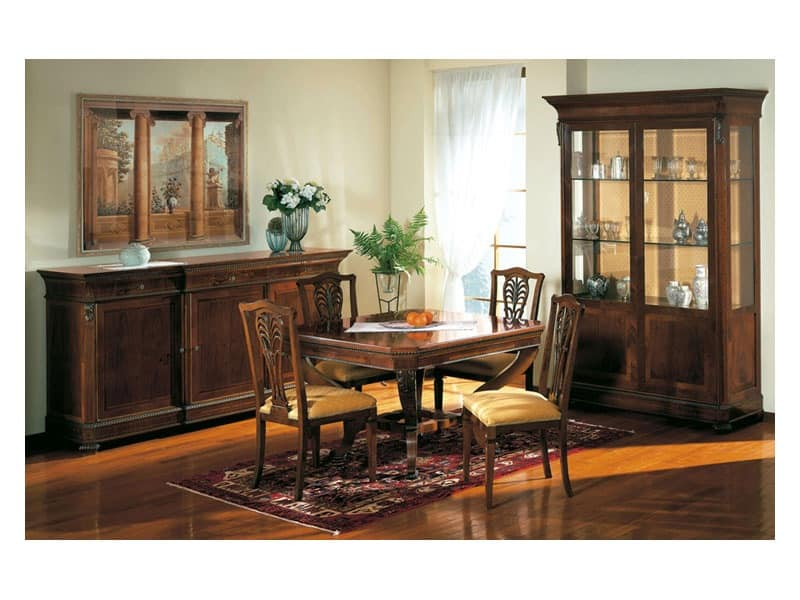 Art. 962 display cabinet Carlo X, Classic style showcases, with glass shelves, for sitting room