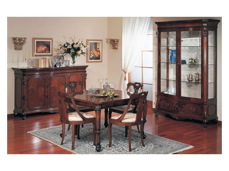 Art. 972 display cabinet '700 Siciliano, Hand decorated showcase, for classic style living room